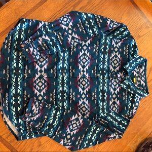Cabelas Aztec Print Flannel Button Down Shirt